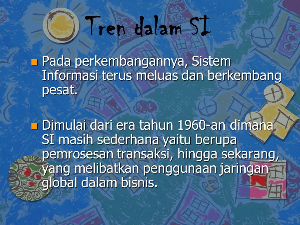 Tren dalam SI Pada perkembangannya, Sistem Informasi terus meluas dan berkembang pesat.