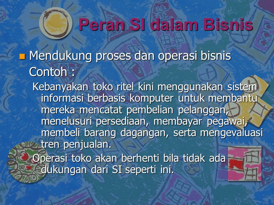 Peran SI dalam Bisnis Mendukung proses dan operasi bisnis Contoh :