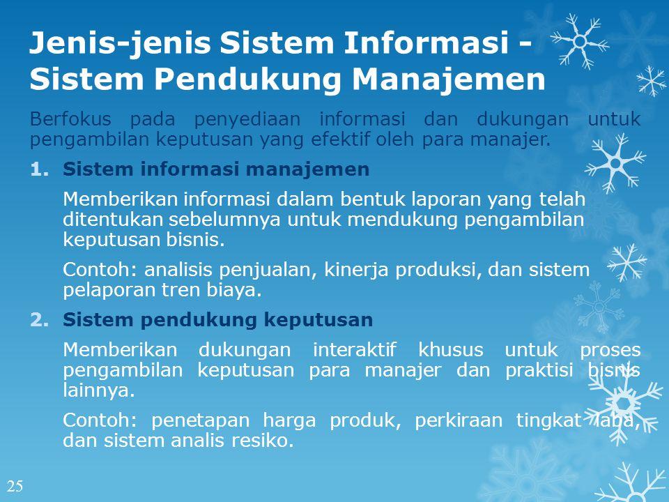 Jenis-jenis Sistem Informasi - Sistem Pendukung Manajemen