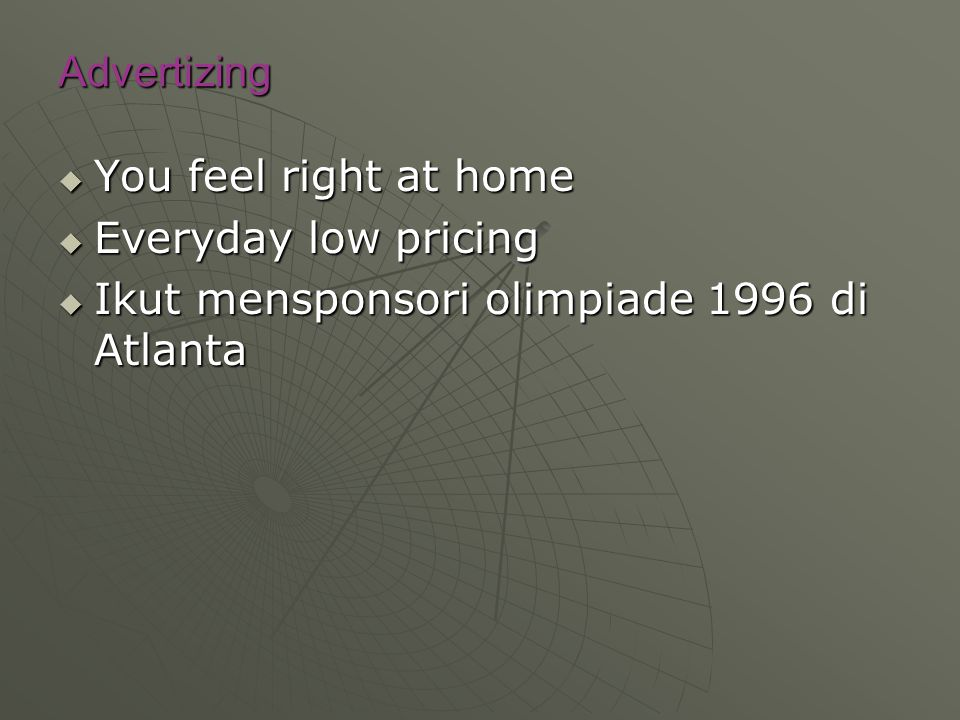 Advertizing You feel right at home Everyday low pricing Ikut mensponsori olimpiade 1996 di Atlanta