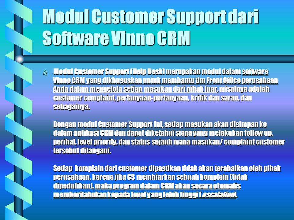 Modul Customer Support dari Software Vinno CRM