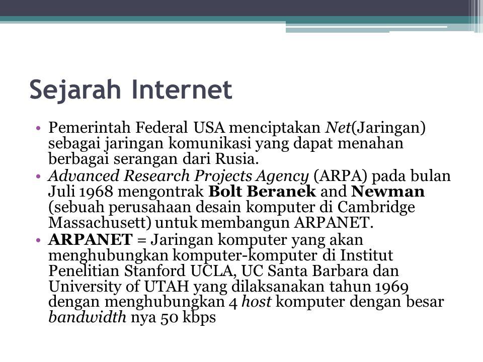 Sejarah Internet Pemerintah Federal USA menciptakan Net(Jaringan) sebagai jaringan komunikasi yang dapat menahan berbagai serangan dari Rusia.