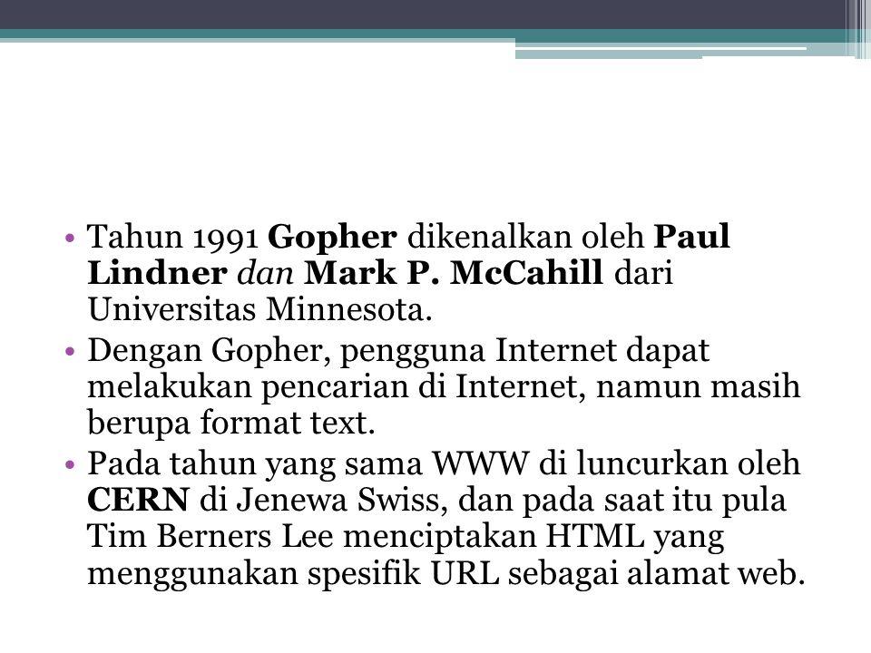 Tahun 1991 Gopher dikenalkan oleh Paul Lindner dan Mark P