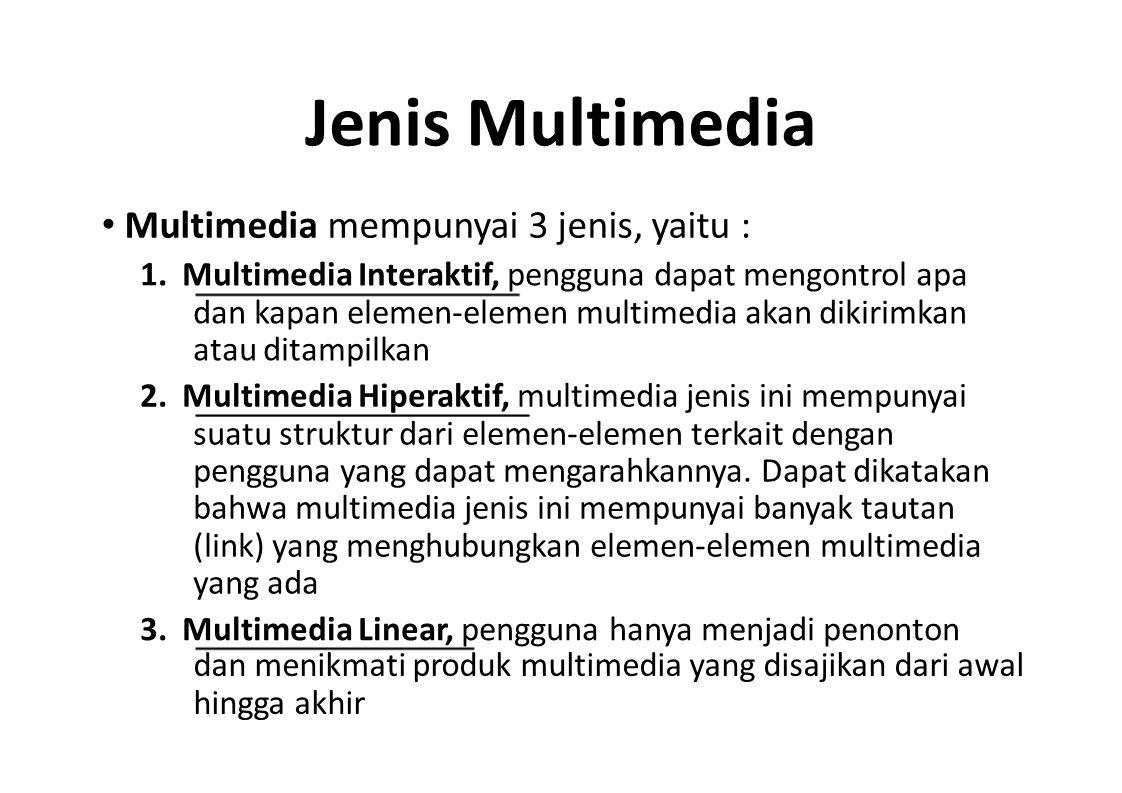 Jenis Multimedia • Multimedia mempunyai 3 jenis, yaitu :
