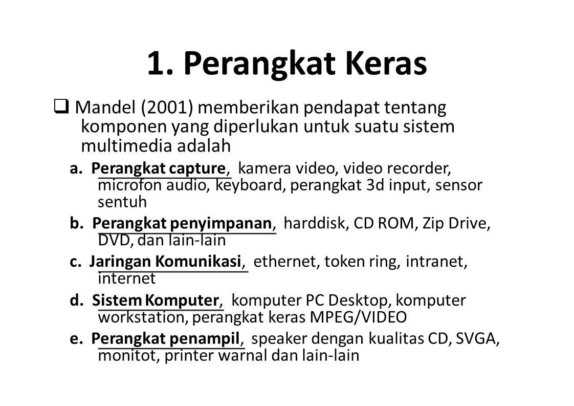 1. Perangkat Keras  Mandel (2001) memberikan pendapat tentang komponen yang diperlukan untuk suatu sistem multimedia adalah.