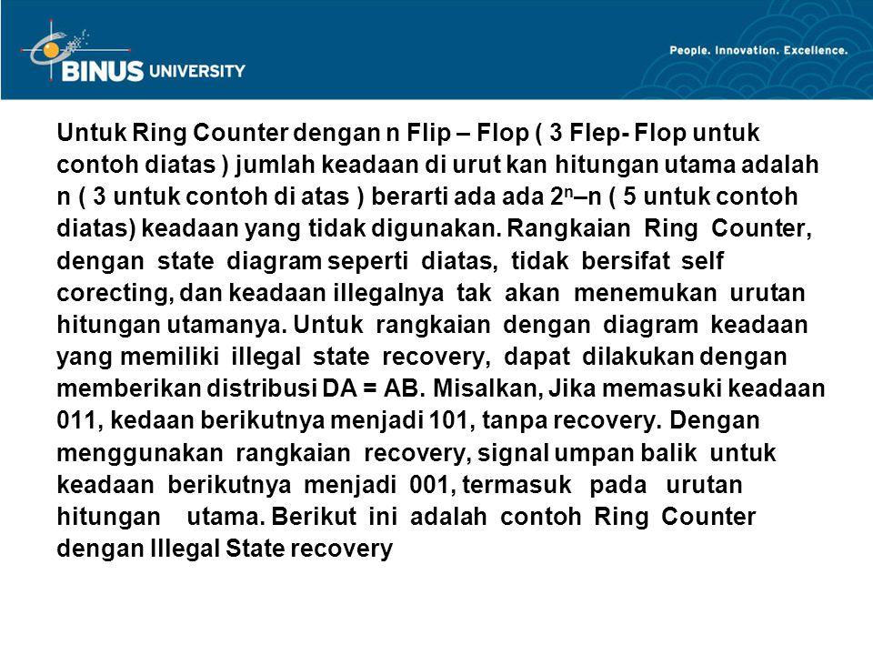 Untuk Ring Counter dengan n Flip – Flop ( 3 Flep- Flop untuk