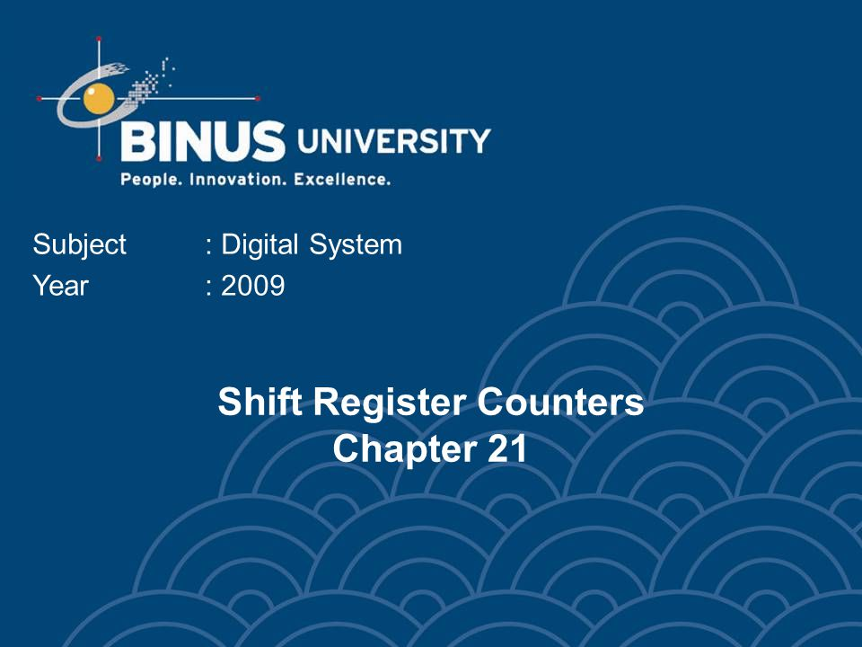 Shift Register Counters Chapter 21