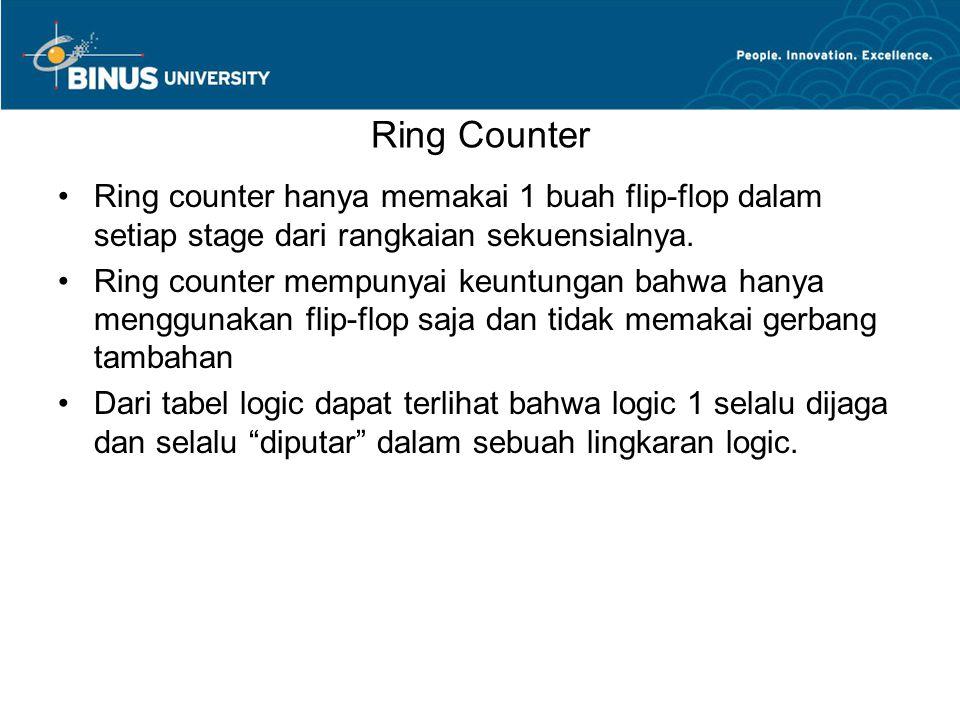 Ring Counter Ring counter hanya memakai 1 buah flip-flop dalam setiap stage dari rangkaian sekuensialnya.