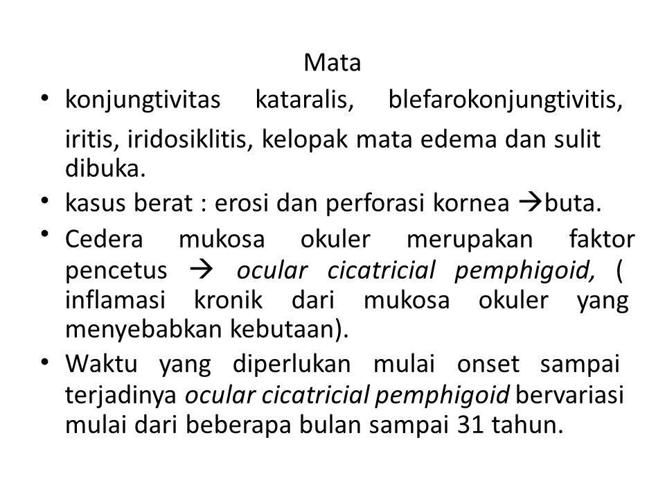 Mata • konjungtivitas. kataralis, blefarokonjungtivitis, iritis, iridosiklitis, kelopak mata edema dan sulit.