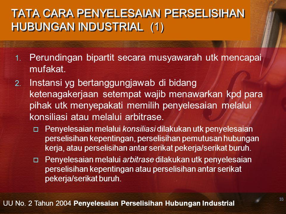 TATA CARA PENYELESAIAN PERSELISIHAN HUBUNGAN INDUSTRIAL (1)