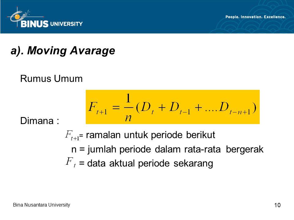a). Moving Avarage Rumus Umum Dimana : = ramalan untuk periode berikut