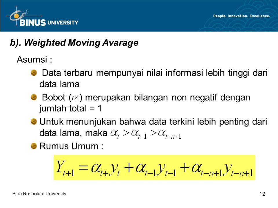 b). Weighted Moving Avarage