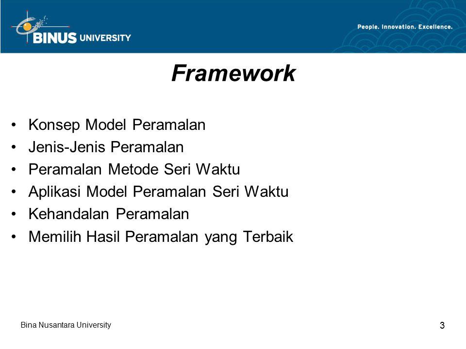 Framework Konsep Model Peramalan Jenis-Jenis Peramalan
