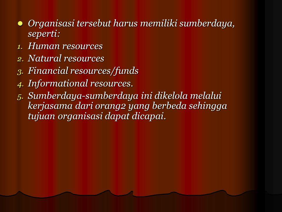 Organisasi tersebut harus memiliki sumberdaya, seperti: