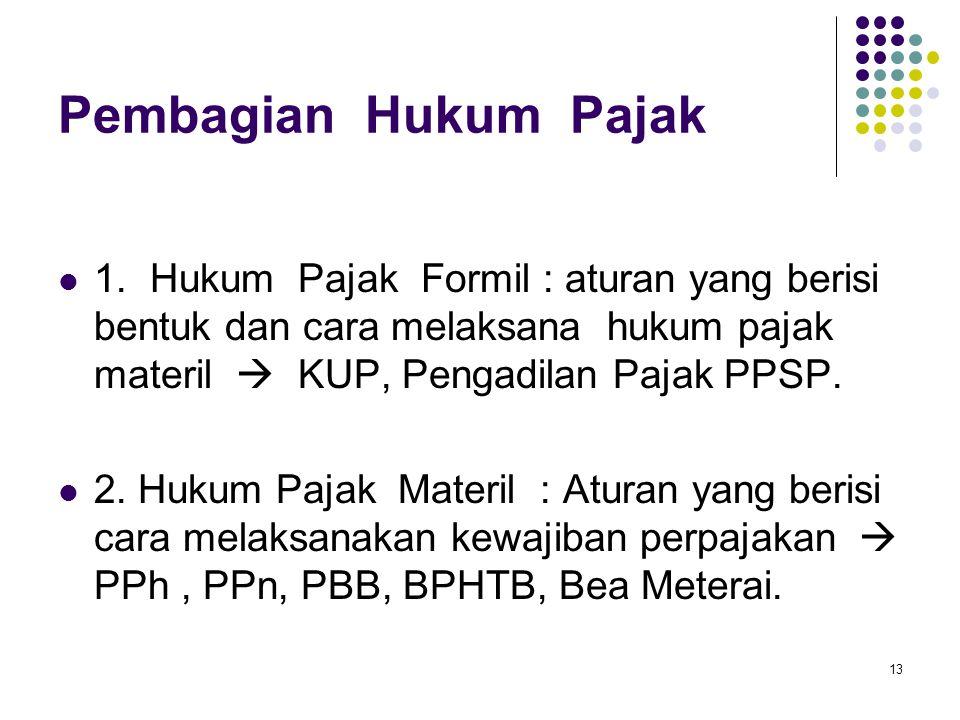 Pembagian Hukum Pajak 1. Hukum Pajak Formil : aturan yang berisi bentuk dan cara melaksana hukum pajak materil  KUP, Pengadilan Pajak PPSP.