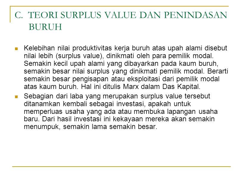 C. TEORI SURPLUS VALUE DAN PENINDASAN BURUH