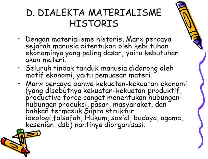 D. DIALEKTA MATERIALISME HISTORIS