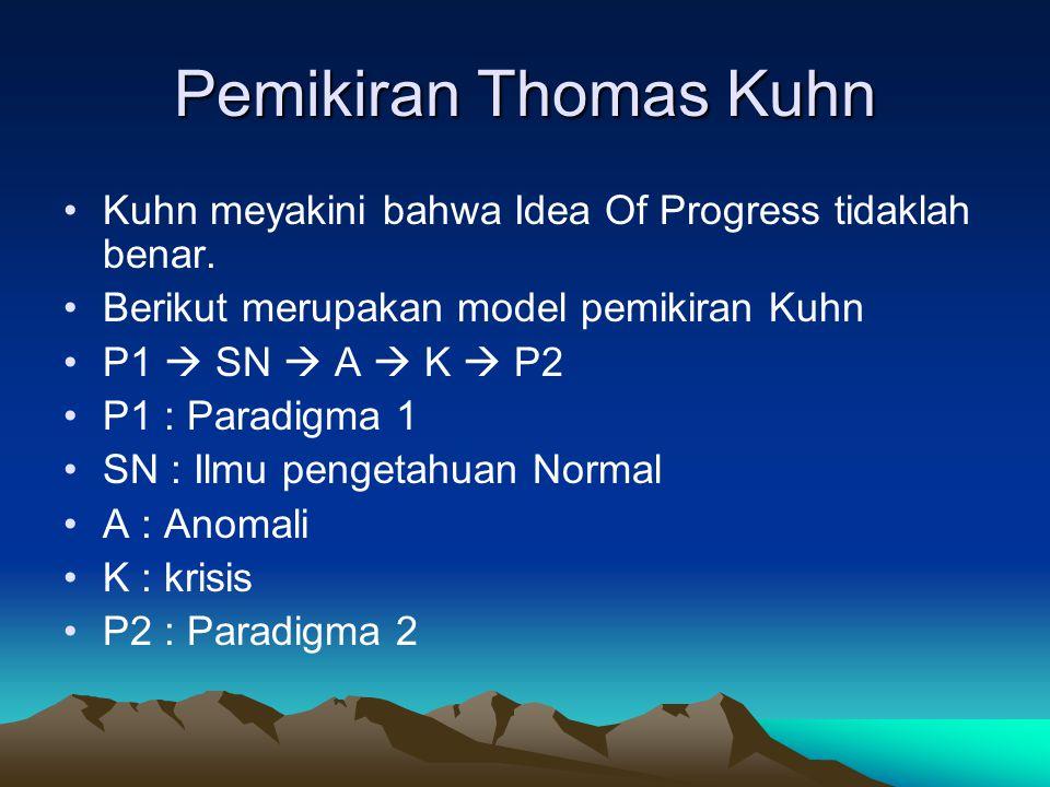 Pemikiran Thomas Kuhn Kuhn meyakini bahwa Idea Of Progress tidaklah benar. Berikut merupakan model pemikiran Kuhn.