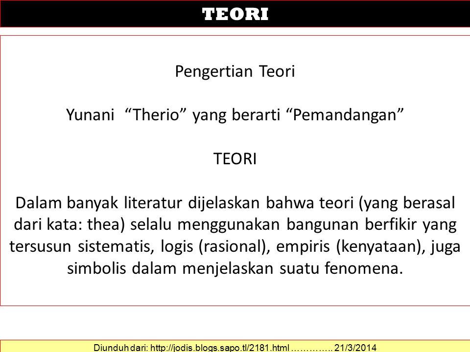 Yunani Therio yang berarti Pemandangan TEORI
