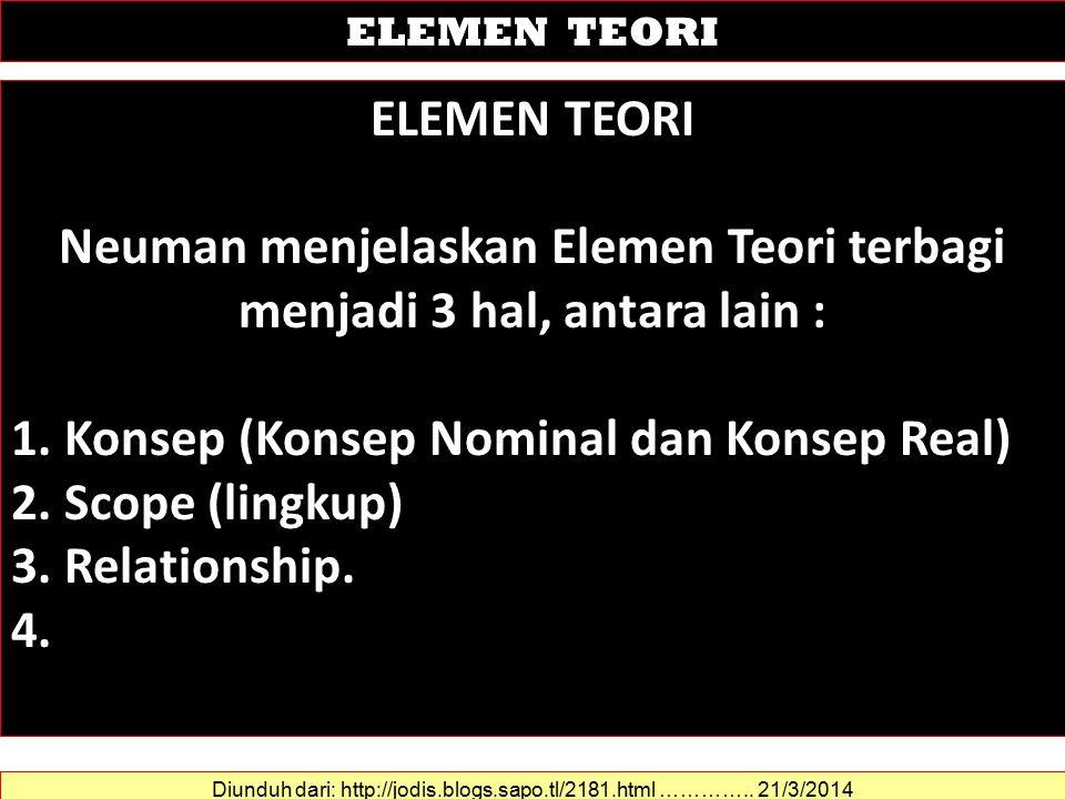 Neuman menjelaskan Elemen Teori terbagi menjadi 3 hal, antara lain :