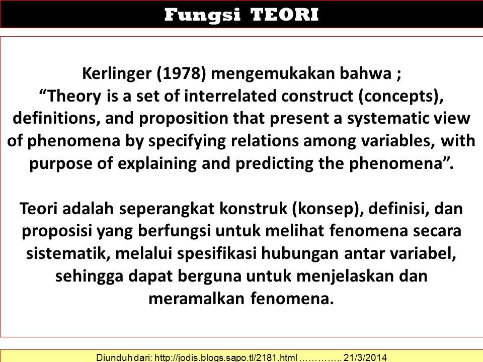 Kerlinger (1978) mengemukakan bahwa ;
