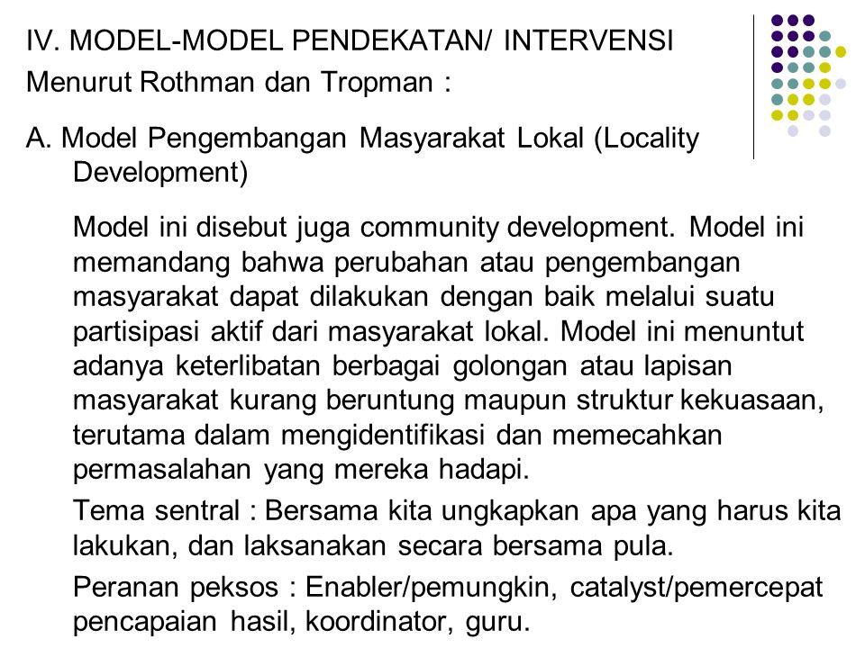 IV. MODEL-MODEL PENDEKATAN/ INTERVENSI