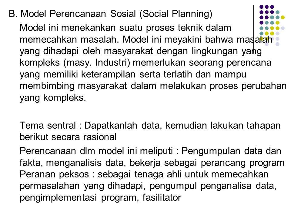 B. Model Perencanaan Sosial (Social Planning)