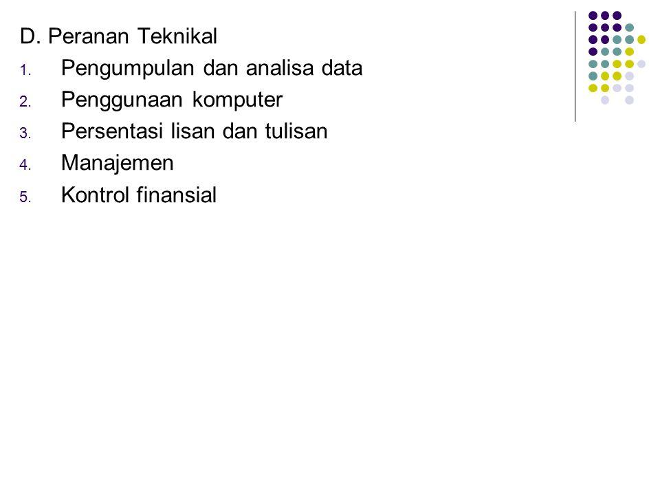 D. Peranan Teknikal Pengumpulan dan analisa data. Penggunaan komputer. Persentasi lisan dan tulisan.