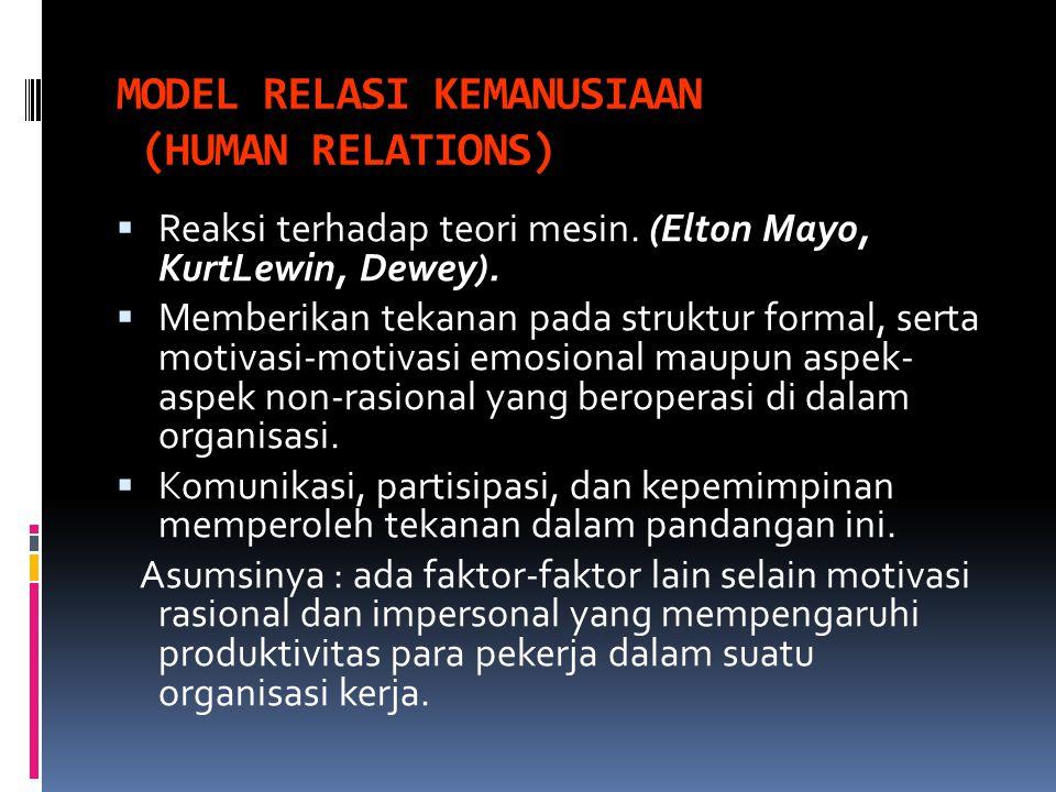 MODEL RELASI KEMANUSIAAN (HUMAN RELATIONS)