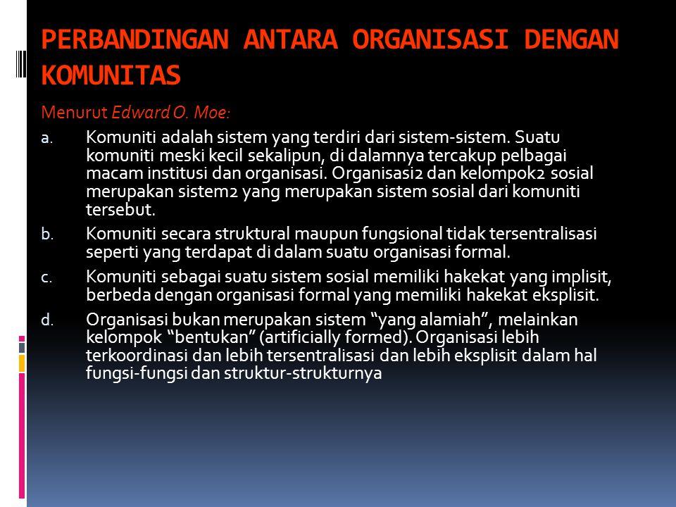 PERBANDINGAN ANTARA ORGANISASI DENGAN KOMUNITAS