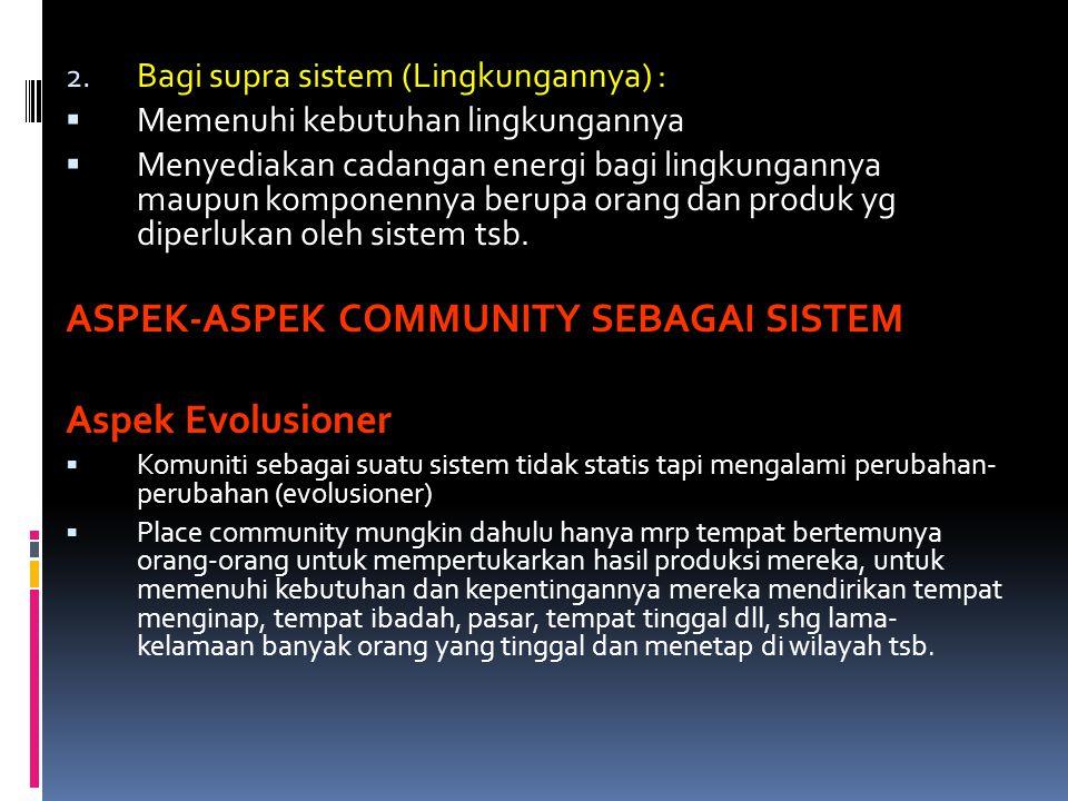 ASPEK-ASPEK COMMUNITY SEBAGAI SISTEM Aspek Evolusioner