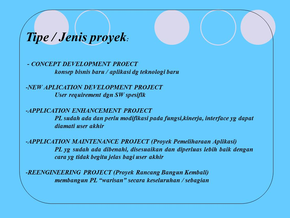 Tipe / Jenis proyek: - CONCEPT DEVELOPMENT PROECT