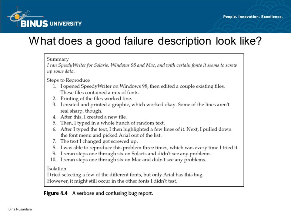 What does a good failure description look like