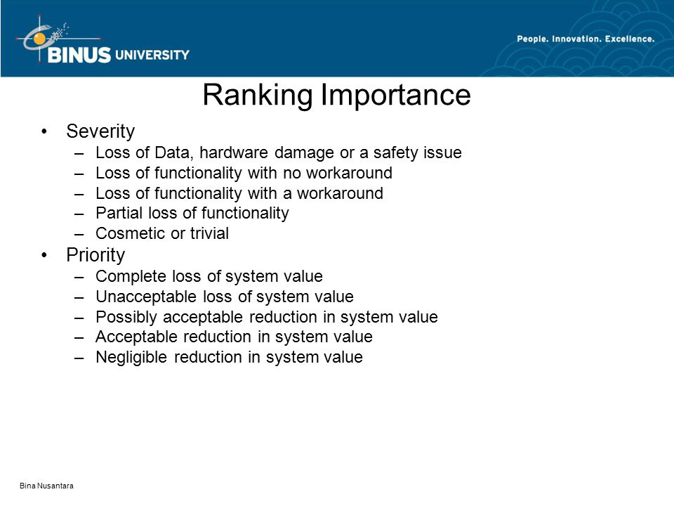 Ranking Importance Severity Priority