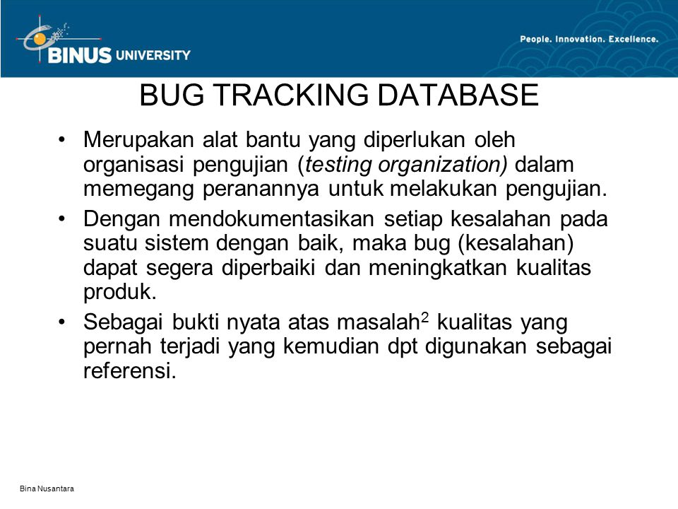 BUG TRACKING DATABASE