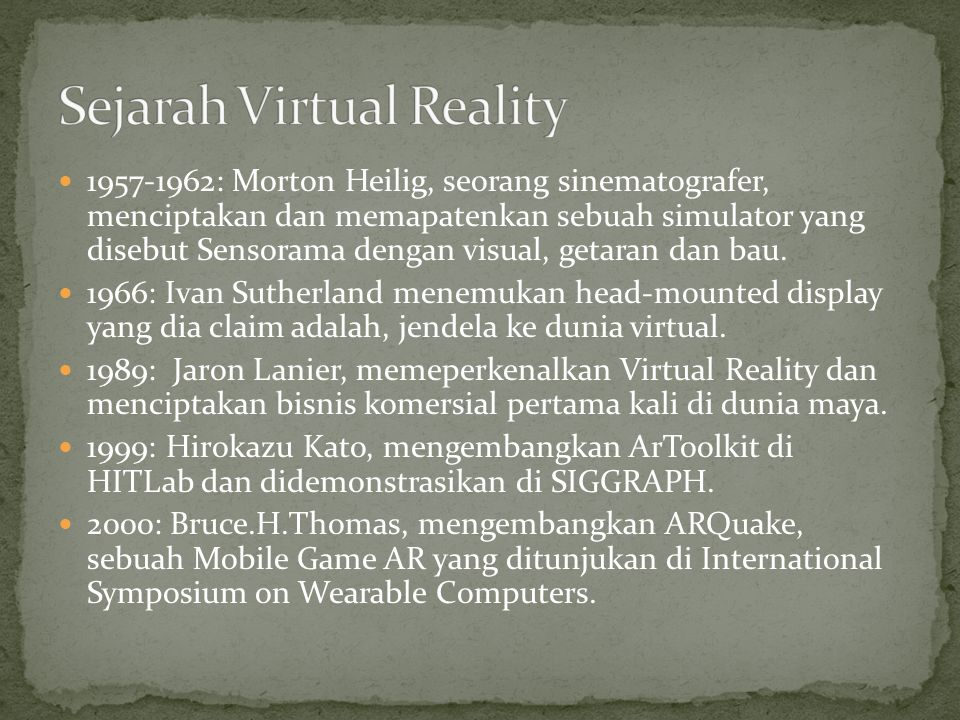Sejarah Virtual Reality