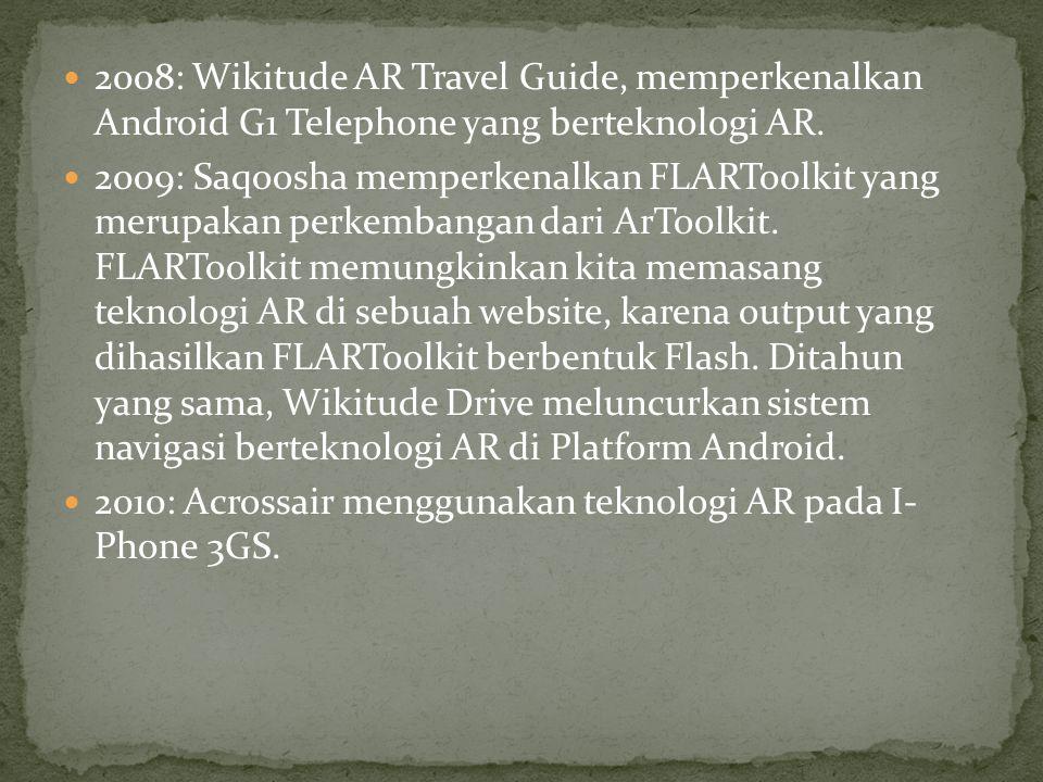 2008: Wikitude AR Travel Guide, memperkenalkan Android G1 Telephone yang berteknologi AR.