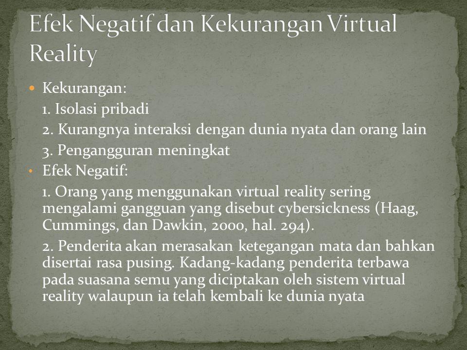 Efek Negatif dan Kekurangan Virtual Reality