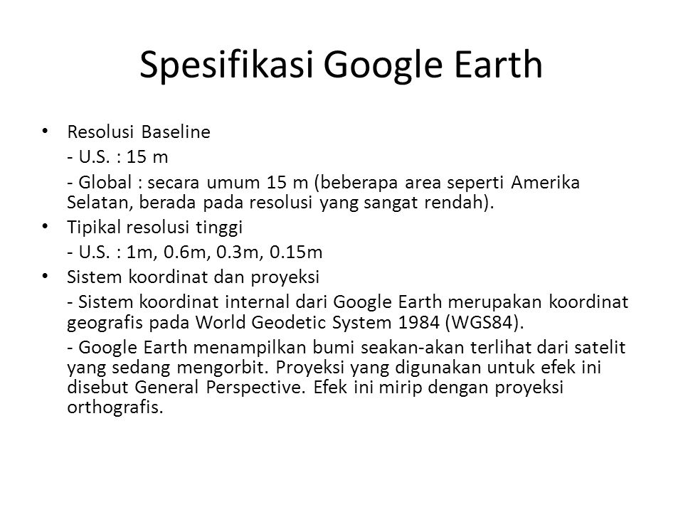 Spesifikasi Google Earth