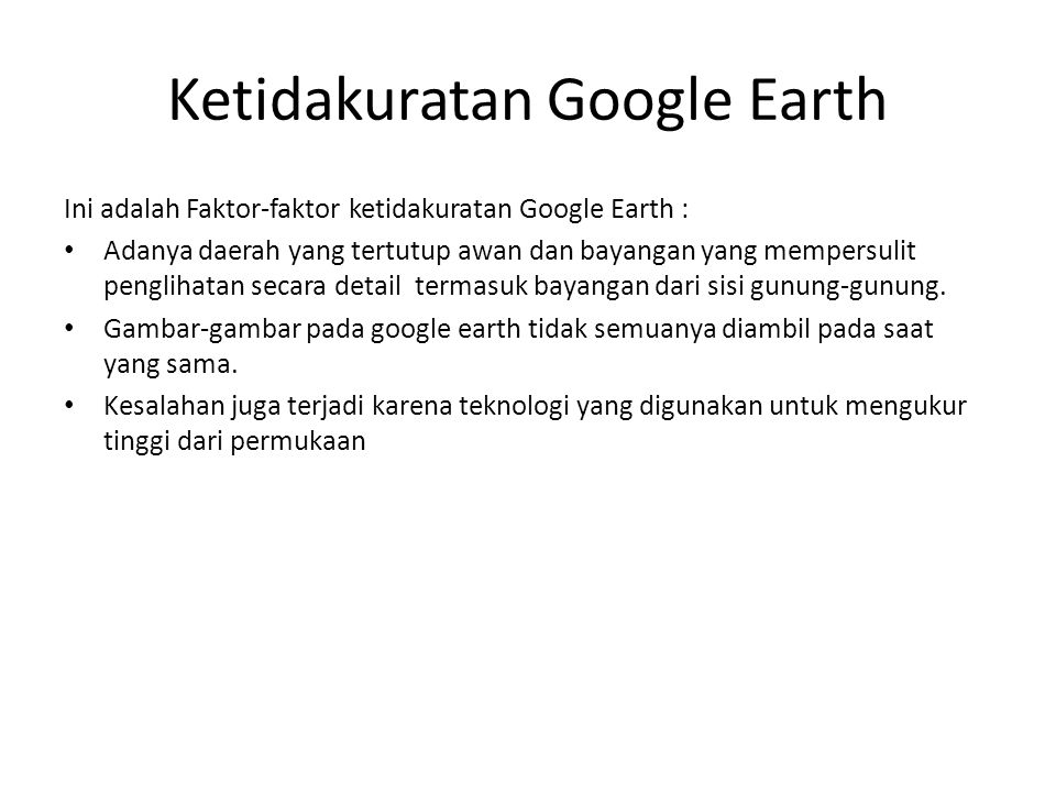 Ketidakuratan Google Earth