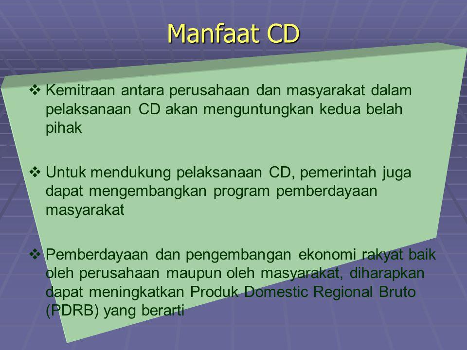 Manfaat CD Kemitraan antara perusahaan dan masyarakat dalam pelaksanaan CD akan menguntungkan kedua belah pihak.