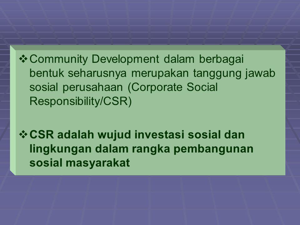 Community Development dalam berbagai bentuk seharusnya merupakan tanggung jawab sosial perusahaan (Corporate Social Responsibility/CSR)