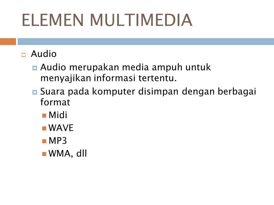 ELEMEN MULTIMEDIA Audio