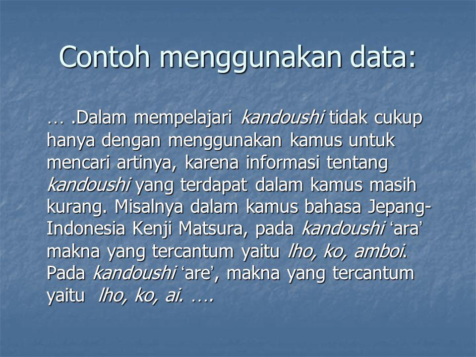 Contoh menggunakan data: