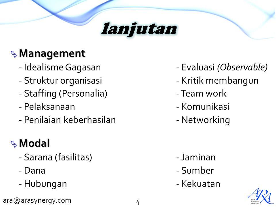 lanjutan Management Modal - Idealisme Gagasan - Evaluasi (Observable)
