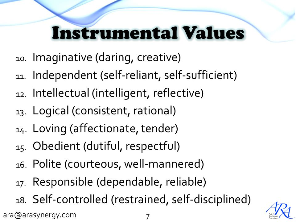 Instrumental Values Imaginative (daring, creative)