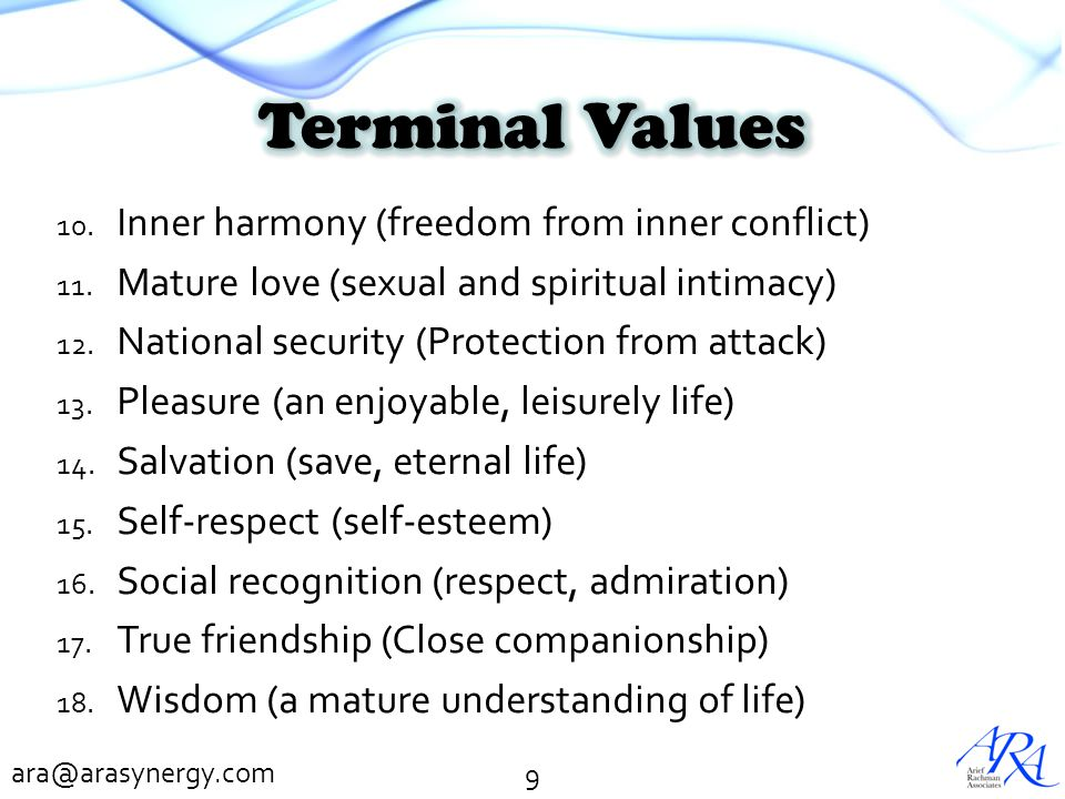 Terminal Values Inner harmony (freedom from inner conflict)