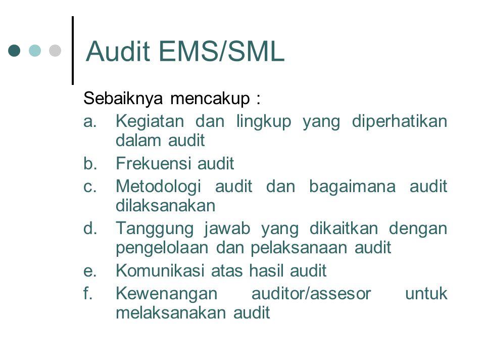 Audit EMS/SML Sebaiknya mencakup :