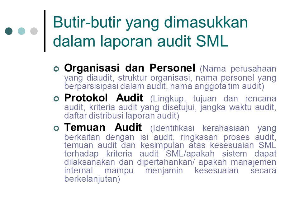 Butir-butir yang dimasukkan dalam laporan audit SML