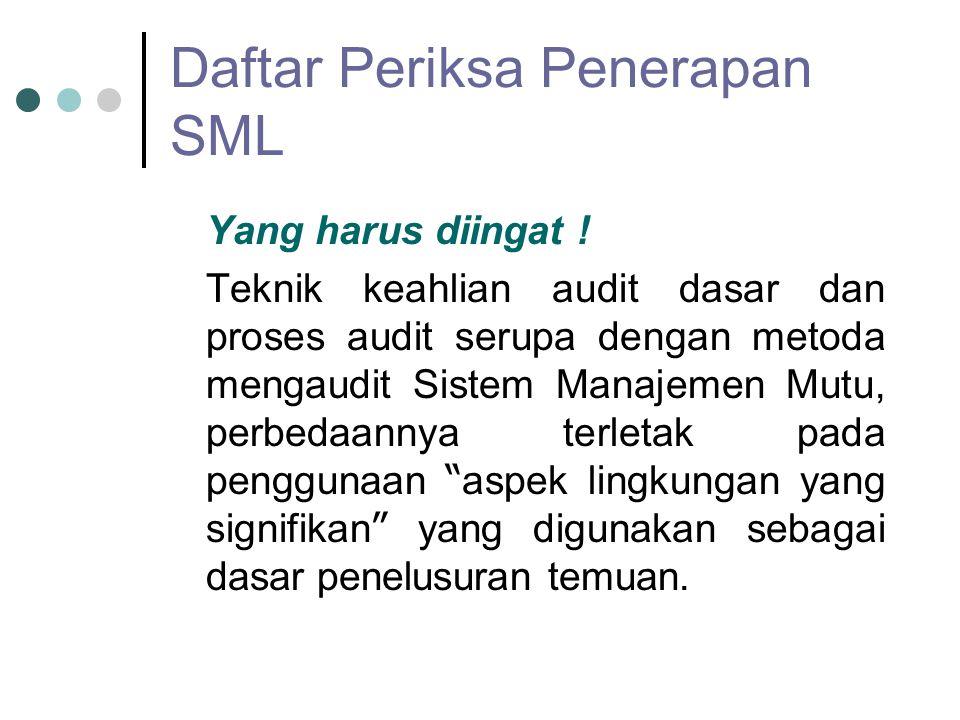 Daftar Periksa Penerapan SML